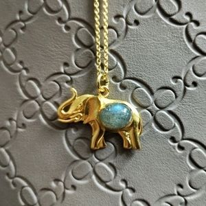 Labradorite Elephant Necklace (nickel free)